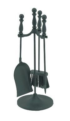 "4 Pc Mini Fireplace Tool Set - 22""H - Ball Handle. 3 piece tool set Black powder coated Measures 22""h"