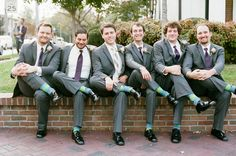 Gotta love those socks!  Ashley + Sean's fall garden wedding at CJ's Off the Square Photo by @jennabrie