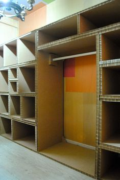 Awesome cardboard storage wall.