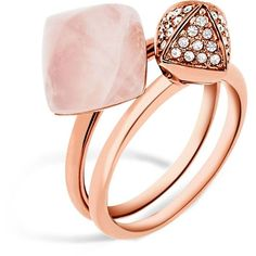 Michael Kors Pave Stacking Rings, Set of 2 ($125) ❤ liked on Polyvore featuring jewelry, rings, pink, pave stackable rings, pink ring, michael kors, michael kors rings and stacking rings jewelry