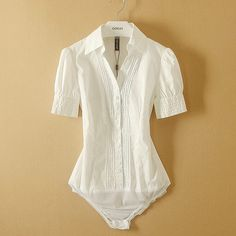 Online Cheap Fanshou 2014 Women Blouses Short Sleeve Summer Shirt Turn Down Collar Body Shirt Women Casual Bodysuit Blusas By Bodysuit Blouse, Bodysuit Fashion, White Shirts Women, Blouses For Women, Classy Outfits, Casual Outfits, Dress Outfits, White Short Sleeve Blouse, Pullover Shirt