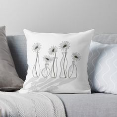 'Daisy Flower Vases' Throw Pillow by PounceBoxArt Framed Prints, Canvas Prints, Art Prints, Designer Throw Pillows, Pillow Design, Flower Vases, Floor Pillows, Art Boards, Duvet Covers