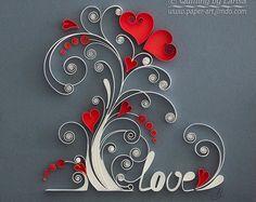Art mural de quilling papier quilling art papier arbre amour anniversaire de mariage l'amour de la famille arbre encadré à la main décor Design cadeau