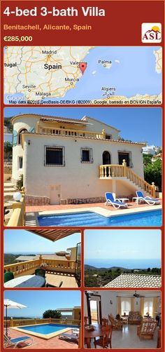 Villa for Sale in Benitachell, Alicante, Spain with 4 bedrooms, 3 bathrooms - A Spanish Life Wooden Window Shutters, Wooden Windows, Murcia, Retractable Awning, Alicante Spain, Double Glazed Window, Central Heating, Terrace Garden, Entrance Hall