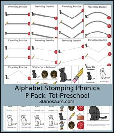 Free Alphabet Stomping Phonics P Tot-Preschool Pack - 20 pages of activities - 3Dinosaurs.com