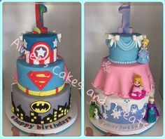 Back to front Superhero's and Princess' cake
