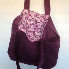 Purple Corduroy and Kokeshi Dolls Kokeshi Dolls, Shopping Bags, Fabulous Fabrics, Corduroy, Sewing, Purple, Pattern, Collection, Fashion