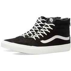 Vans Sk8-Hi Slim Zip Lizard ($93) ❤ liked on Polyvore featuring men's fashion, men's shoes and men's sneakers