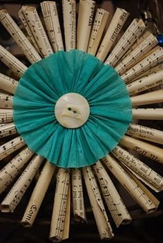 book page ornament - I love the aqua blue here, to create color and contrast!