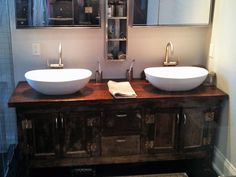 Reclaimed Wood Double Vanity With Drawers And Cabinets