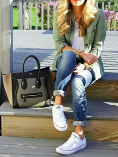 I love Boyfriend Jeans...they're super cute and super comfy. And the Converse add the perfect touch