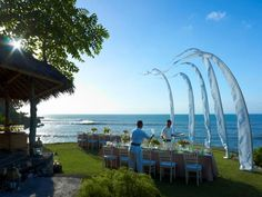 Event set-up with a stunning view of the Indian Ocean | Four Seasons Resort Bali at Jimbaran Bay | Bali, Indonesia