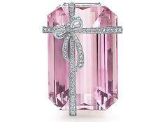 Tiffany bow gold white diamond kunzite