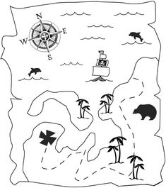 Pirate Coloring book pages Link to coloring pages, stickers, crafts and Pirate Treasure Maps, Pirate Maps, Buried Treasure, Pirate Theme, Treasure Chest, Halloween Coloring Pictures, The Pirates, Pirate Crafts, Pirate Birthday