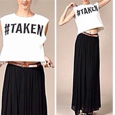 #Taken Top   Hashtag It So We Know Its Real! This Soft, Durable, Thick  Top Is Fun And Flirty And Can Be Dressed Up Or Down.     * 95% Cotton * 5% spandex NAVIE Tops