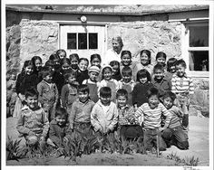 photo by Lowell Weeks -Liz Eubank and her Navajo Mountain School-  1959 Colorado Plateau Archives.