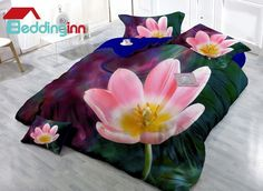 Pink floral digital print silky duvet cover set #pink #flower #bedding #decor #3D  Live a better life, start with Beddinginn http://www.beddinginn.com/product/Adorable-Pink-Flower-Digital-Print-4-Piece-Cotton-Silky-Duvet-Cover-Sets-11347017.html