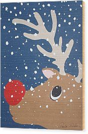 Rudolph The Red Nosed Reindeer Wood Print by Paula Weber
