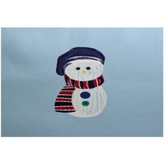 Simply Daisy 5' x 7' Sock Snowman Geometric Print Indoor Rug, Blue