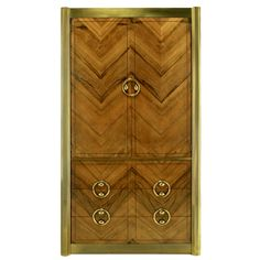 Mastercraft Zebrano Wood & Patinated Brass Tall Wardrobe | From a unique collection of antique and modern wardrobes and armoires at http://www.1stdibs.com/furniture/storage-case-pieces/wardrobes-armoires/