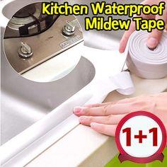 [S$11.90][BUY1FREE1]3m*3.8cm kitchen corner line waterproof tape affixed to corner mildew moisture mold seams Protector bumper strip waterproof