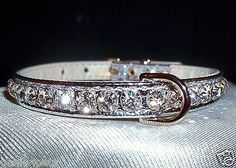 Rhinestone BLING Dog PET collars Crystal Jewel SILVER 4 sizes metallic