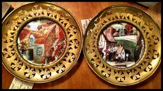 Brass Plates with cottage pictures, made in England, $42 for the pair.  Gaslamp Antiques Too, booth T366.