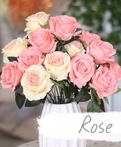 ดอกไม้ประดิษฐ์ ช่อดอกกุหลาบ 9 ดอก/ช่อ มีให้เลือกหลายสี