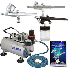 New 3 Airbrush & Compressor Kit Dual-Action Spray Air Brush Set Tattoo Nail Art - http://crafts.goshoppins.com/art-supplies/new-3-airbrush-compressor-kit-dual-action-spray-air-brush-set-tattoo-nail-art-5/