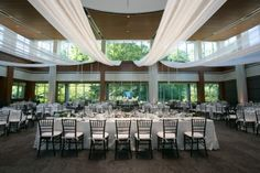 Make your reception space unique by adding drapery and lighting. Indianapolis Museum, Valance Curtains, Drapery, Art Museum, Outdoor Spaces, Indoor, Table Decorations, Elegant, Unique