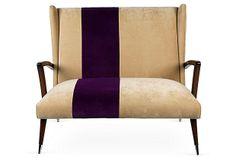 Midcentury Modern Italian Purple Stripe Settee from Gustavo Oliviera