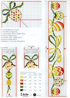 My embroidery: Rico 16 - easter Beaded Cross Stitch, Cross Stitch Borders, Cross Stitching, Cross Stitch Patterns, Bee Embroidery, Cross Stitch Embroidery, Minnie Baby, Rico Design, Easter Cross