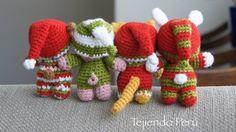 Tejido Amigurumi Tutorial : Oso gato chanchito y conejo bebés en pijamas esperando navidad