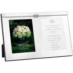 """Silverplate. Imported. Frame holds two 5x7"""" photos or invitations."""