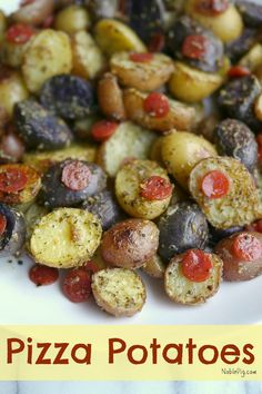 Pizza Potatoes, a fun side dish the kid's and family will love from NoblePig.com.