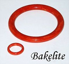 Vintage Red Marbled Bakelite Bangle Bracelet and Ring offered by Ruby Lane Shop, The Vintage Jewelry Boutique. #Bakelite
