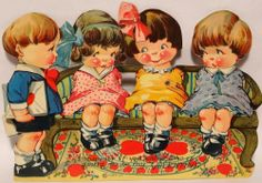 Charles Twelvetrees Valentine: J398 30s Louis Katz Kids on a Bench-Vintage Mechanical Diecut Valentine Card