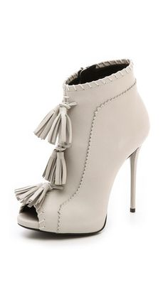 Giuseppe Zanotti White Fringed Tassels 'Coline' Leather Booties €1,395 Spring 2014 #Shoes #Heels