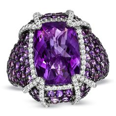 Cushion-cut Amethyst and White Topaz Cocktail Ring