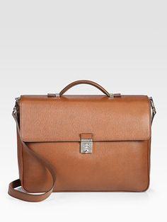 Salvatore Ferragamo Revival Wrinkled Leather Briefcase