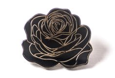 """1"""" x 1"""" x 2mm Black nickelplated brass pins with hard enamel Black rubber pin clutch Pins designed by Careaux"""