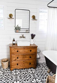 Bathroom decor created with old wooden dresser, golden color lighting system and faucet, small square sink and mirror. Dresser Vanity Bathroom, Farmhouse Bathroom Sink, Home Design, Bathroom Pictures, Bathroom Renovations, Remodel Bathroom, Restroom Remodel, Budget Bathroom, Beautiful Bathrooms