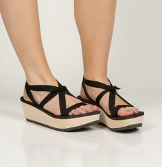 MOKOBO Platform Slide Sandal by Mohop - Handmade Vegan Shoe with Interchangeable Ribbons by mohop on Etsy https://www.etsy.com/listing/126289383/mokobo-platform-slide-sandal-by-mohop