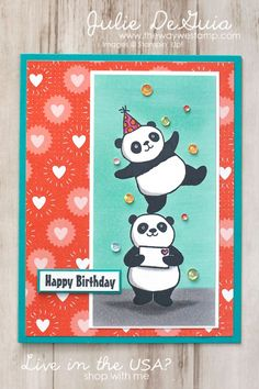 Party Pandas by Stampin' Up! for GDP116 | Free Stamps | handmade cards | rubber stamps | Sale-A-Bration | panda bear stamps | Handmade Birthday Cards | The Way We Stamp | Julie DeGuia