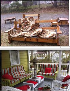 pinner says: This is an awesome idea. Got this idea for couch to porch furniture transformation from Christine's Creations, Woodstock GA. Maybe I should hit some yard sales. Porch Furniture, Refurbished Furniture, Repurposed Furniture, Furniture Projects, Home Projects, Garden Furniture, Vintage Patio Furniture, Painted Outdoor Furniture, Patio Furniture Makeover