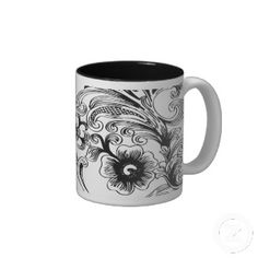 black and white floral elegance coffee mugs