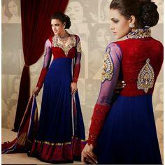 Majesty Maroon & Royal Blue Salwar Kameez 921 - Online Shopping for Dress Material by Khusboo design world-Clothing-Khusboo design world