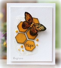handmade card ... clean and simple ... hexagons ... butterfly ... pearls .... mixed media ... luv the addition of a gesso texture to back the montage ... fabulous card!!