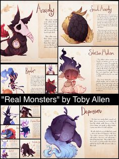 """""""Series of art created by Toby Allen @ZestyDoesThings that reimagines several mental illnesses as monsters. The series is called """"Real Monsters,"""" and Allen also gives an explanation of what each of these monsters do when they attack you. It's mental illness explained through the eyes of an artist."""" via @GeekTyrant"""