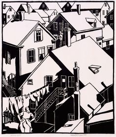 Mildred McMillen, Provincetown Housetops, 1918, woodcut